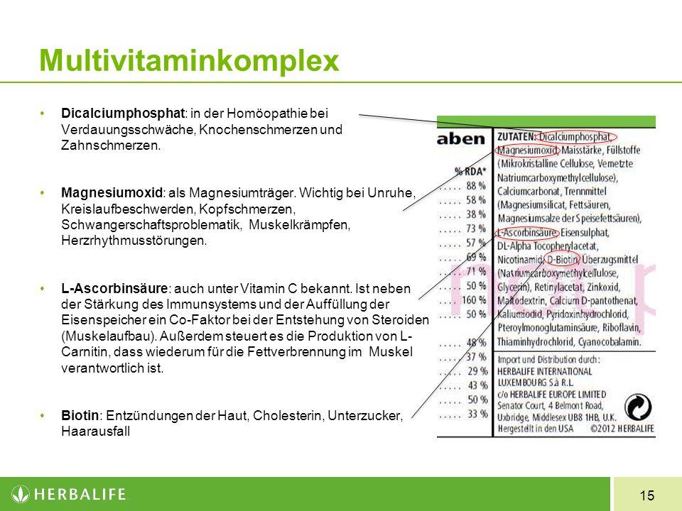 15 Multivitaminkomplex Dicalciumphosphat: in der Homöopathie bei Verdauungsschwäche, Knochenschmerzen und Zahnschmerzen. Magnesiumoxid: als Magnesiumt
