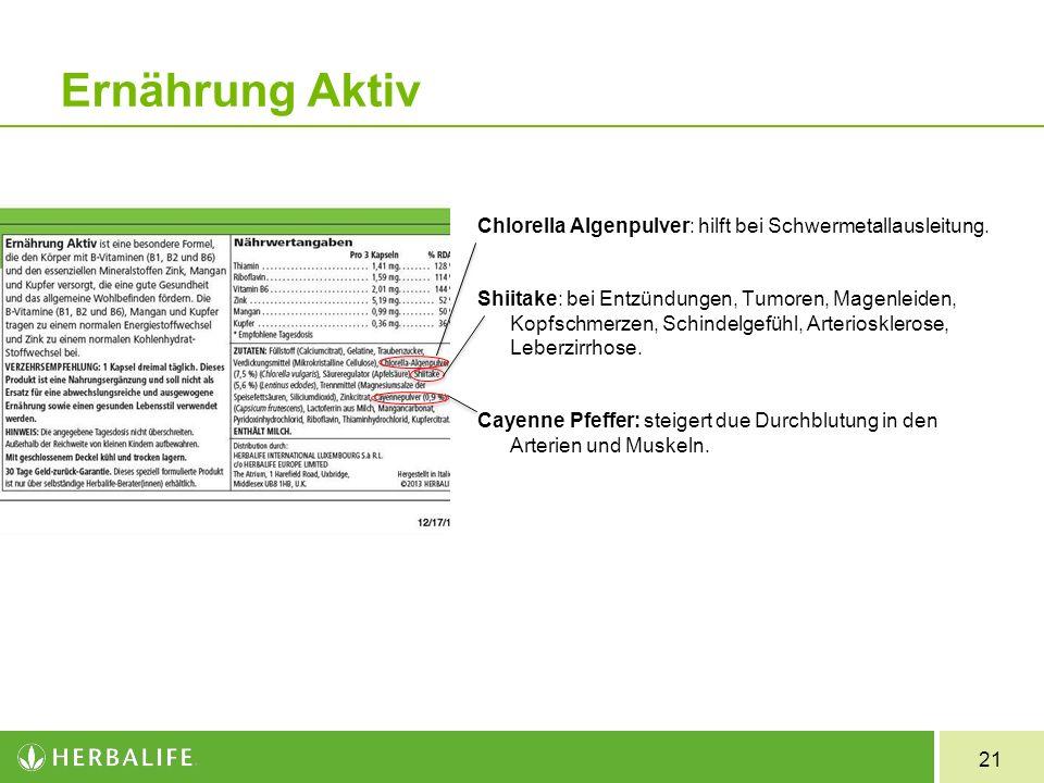 21 Ernährung Aktiv Chlorella Algenpulver: hilft bei Schwermetallausleitung. Shiitake: bei Entzündungen, Tumoren, Magenleiden, Kopfschmerzen, Schindelg