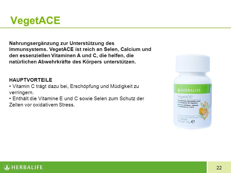22 Veget ACE Nahrungsergänzung zur Unterstützung des Immunsystems. VegetACE ist reich an Selen, Calcium und den essenziellen Vitaminen A und C, die he