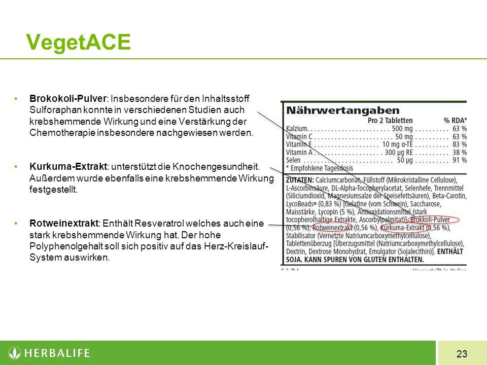 23 VegetACE Brokokoli-Pulver: Insbesondere für den Inhaltsstoff Sulforaphan konnte in verschiedenen Studien auch krebshemmende Wirkung und eine Verstä