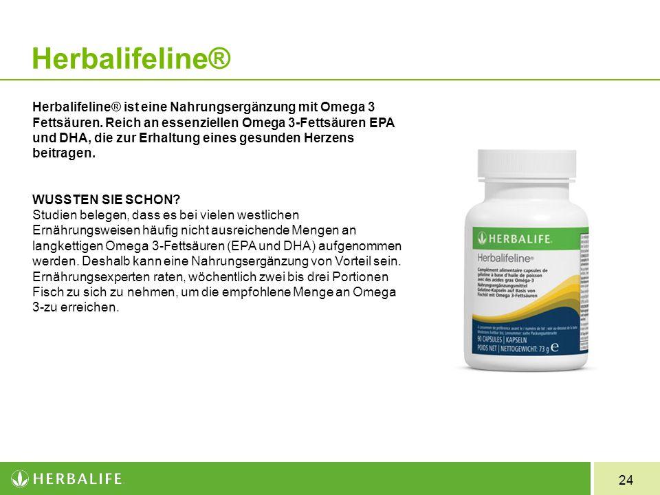 24 Herbalifeline Herbalifeline® ist eine Nahrungsergänzung mit Omega 3 Fettsäuren. Reich an essenziellen Omega 3-Fettsäuren EPA und DHA, die zur Erhal