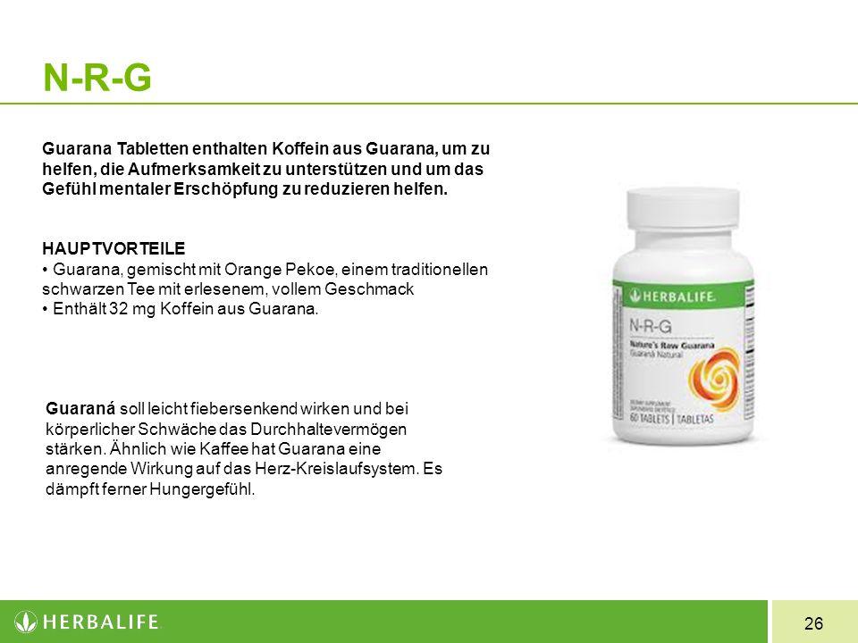 26 N-R-G Guarana Tabletten enthalten Koffein aus Guarana, um zu helfen, die Aufmerksamkeit zu unterstützen und um das Gefühl mentaler Erschöpfung zu r