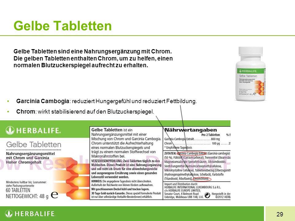 29 Gelbe Tabletten Gelbe Tabletten sind eine Nahrungsergänzung mit Chrom. Die gelben Tabletten enthalten Chrom, um zu helfen, einen normalen Blutzucke