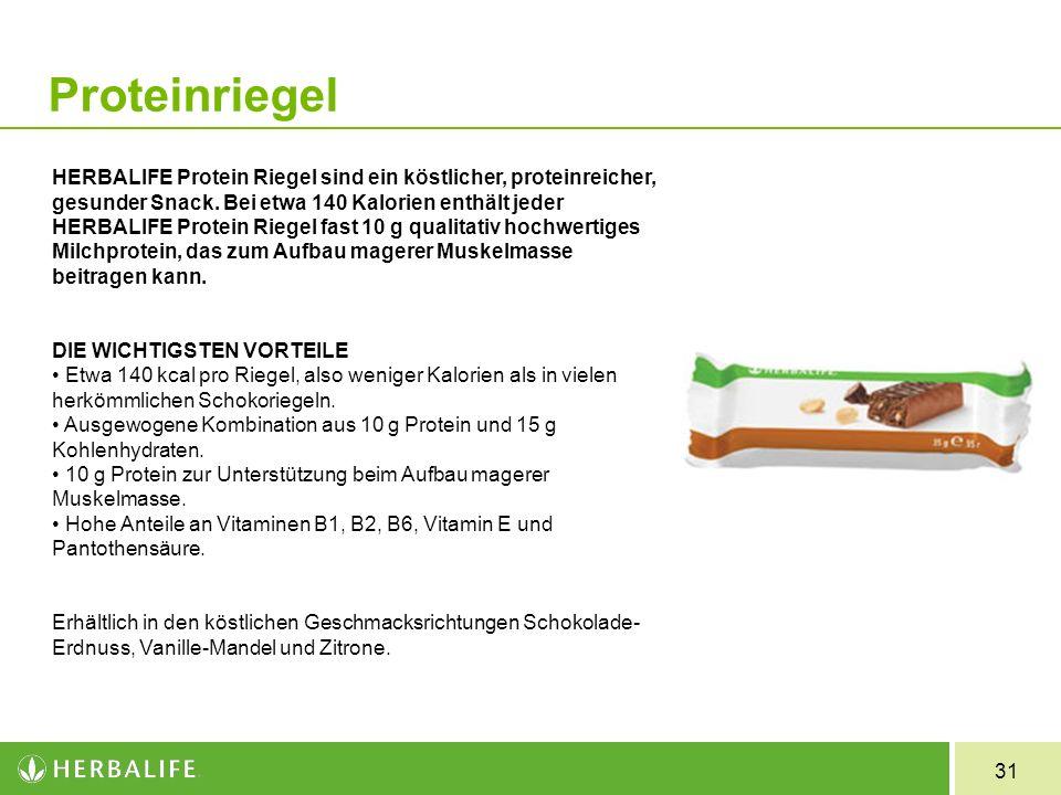 31 Proteinriegel HERBALIFE Protein Riegel sind ein köstlicher, proteinreicher, gesunder Snack. Bei etwa 140 Kalorien enthält jeder HERBALIFE Protein R