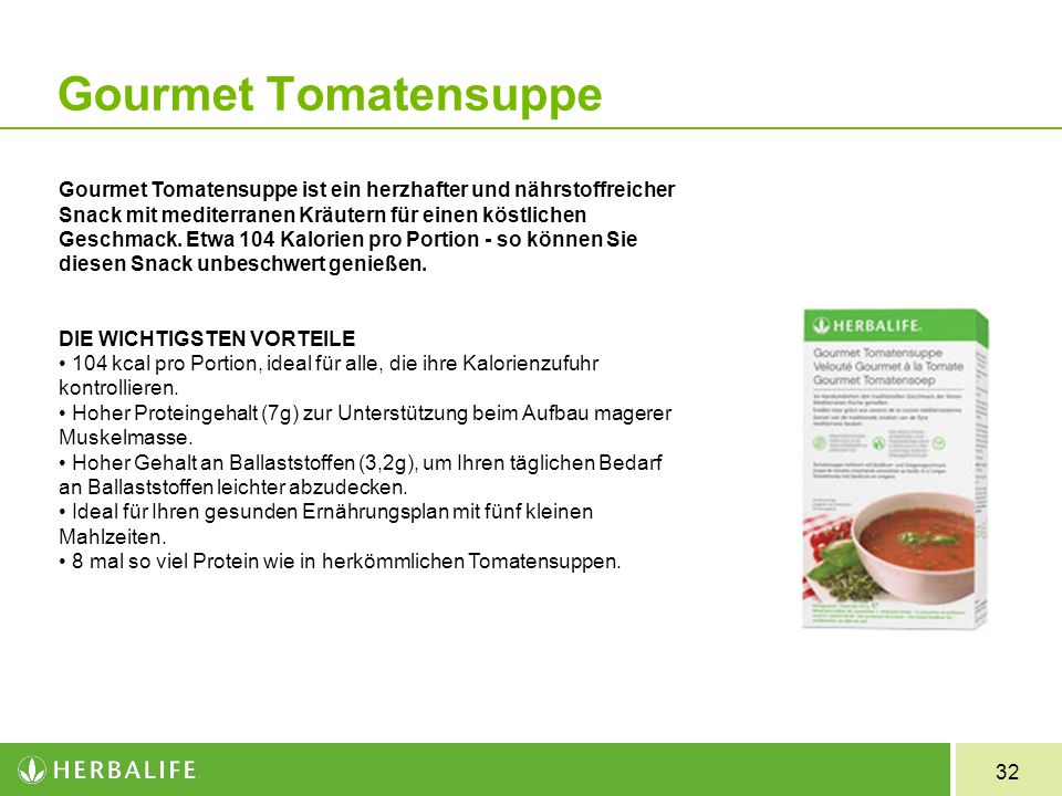 32 Gourmet Tomatensuppe Gourmet Tomatensuppe ist ein herzhafter und nährstoffreicher Snack mit mediterranen Kräutern für einen köstlichen Geschmack. E