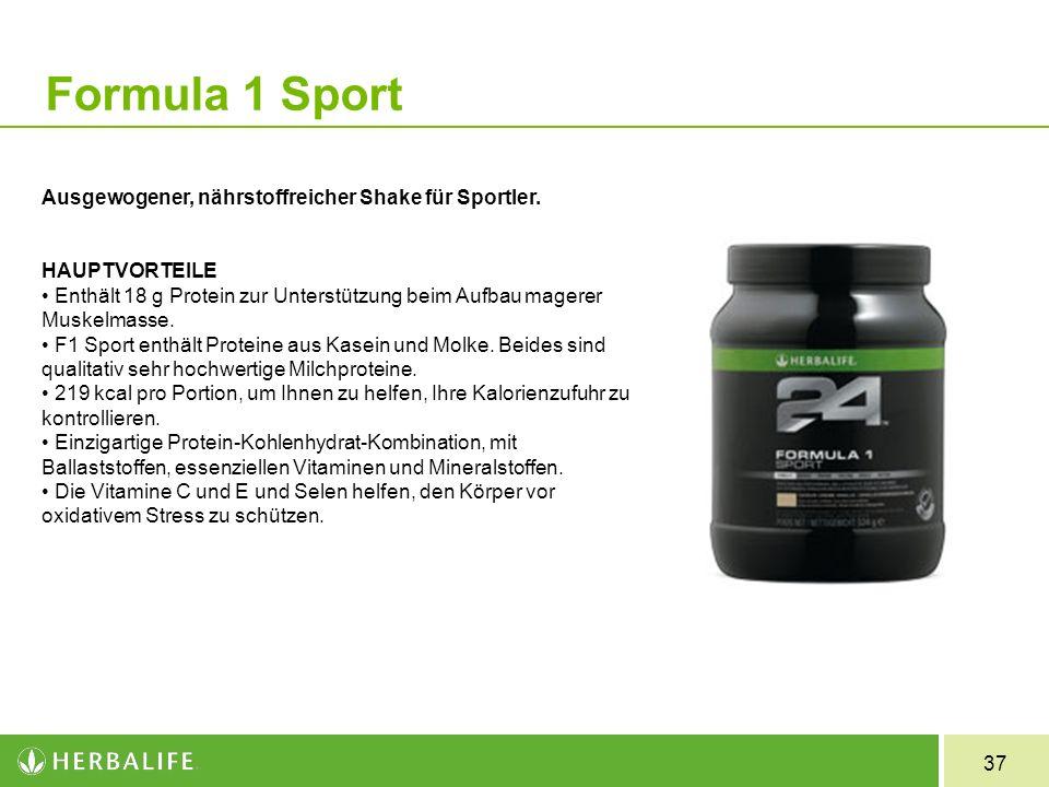 37 Formula 1 Sport Ausgewogener, nährstoffreicher Shake für Sportler. HAUPTVORTEILE Enthält 18 g Protein zur Unterstützung beim Aufbau magerer Muskelm