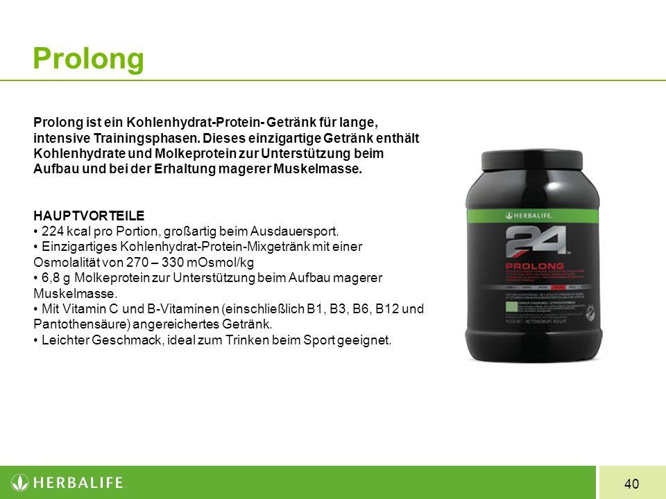 40 Prolong Prolong ist ein Kohlenhydrat-Protein- Getränk für lange, intensive Trainingsphasen. Dieses einzigartige Getränk enthält Kohlenhydrate und M