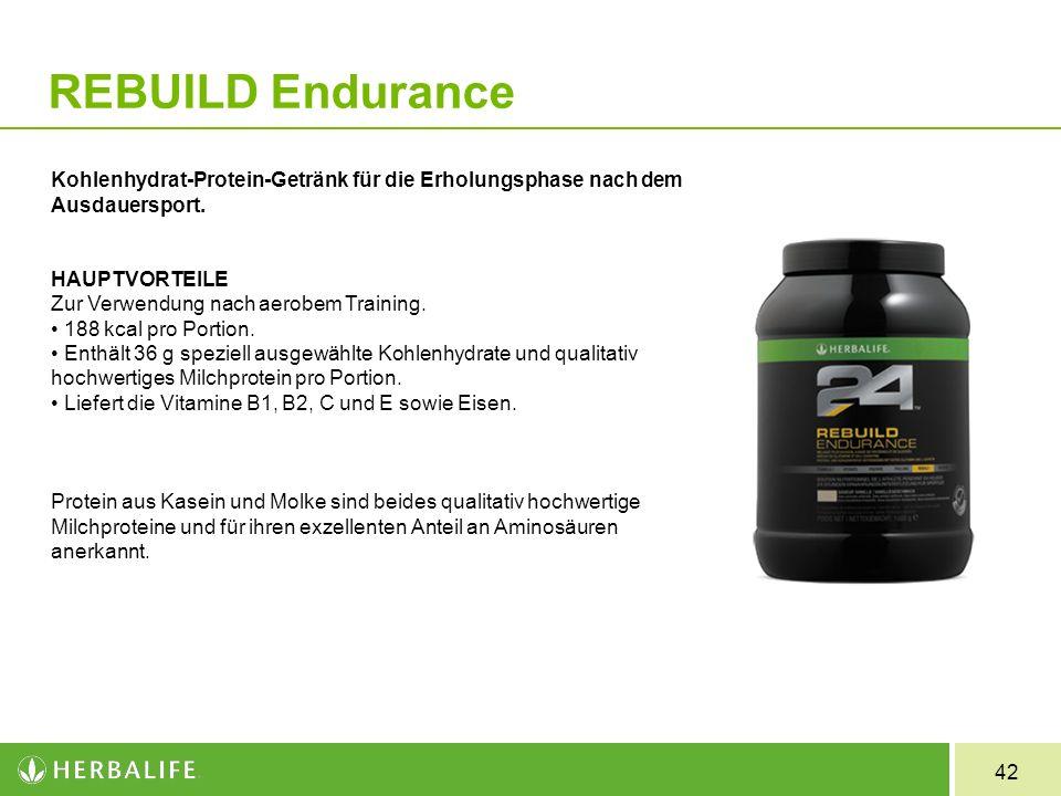 42 REBUILD Endurance Kohlenhydrat-Protein-Getränk für die Erholungsphase nach dem Ausdauersport. HAUPTVORTEILE Zur Verwendung nach aerobem Training. 1
