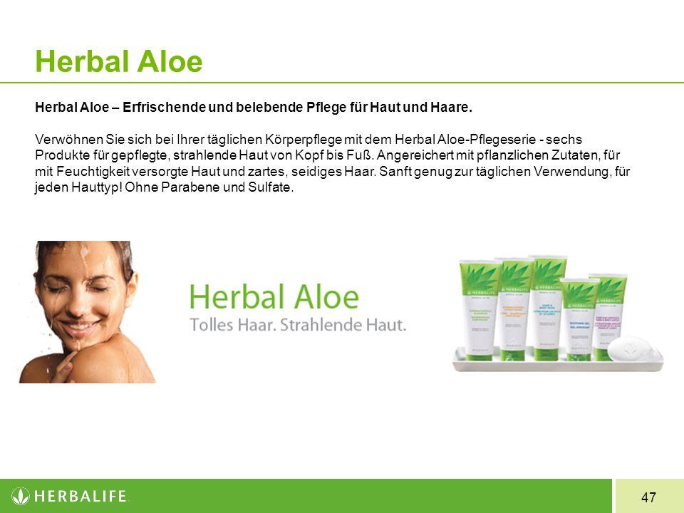 47 Herbal Aloe Herbal Aloe – Erfrischende und belebende Pflege für Haut und Haare. Verwöhnen Sie sich bei Ihrer täglichen Körperpflege mit dem Herbal