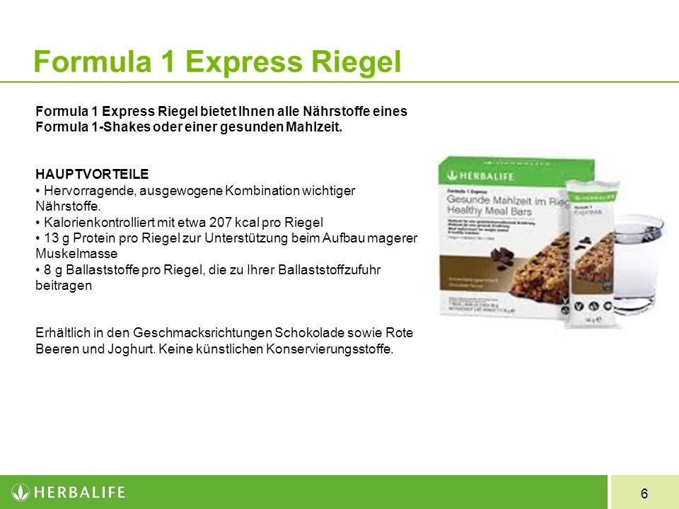 6 Formula 1 Express Riegel bietet Ihnen alle Nährstoffe eines Formula 1-Shakes oder einer gesunden Mahlzeit. HAUPTVORTEILE Hervorragende, ausgewogene