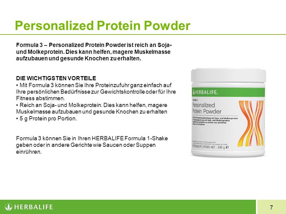 7 Formula 3 Personalized Protein Powder Formula 3 – Personalized Protein Powder ist reich an Soja- und Molkeprotein. Dies kann helfen, magere Muskelma