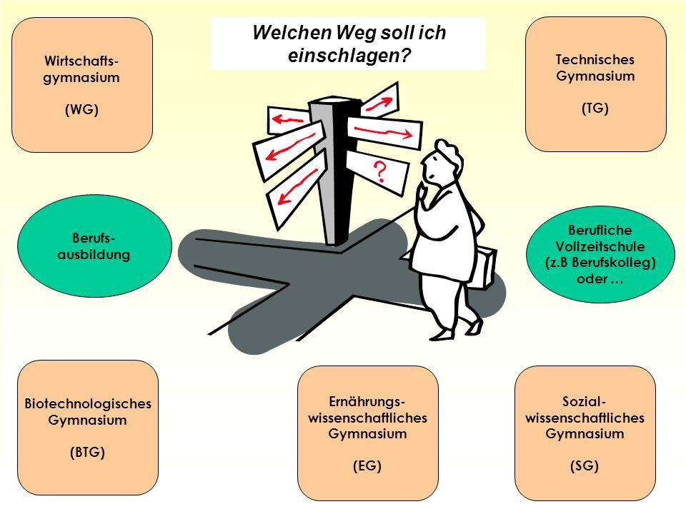 Sozial- wissenschaftliches Gymnasium (SG) Wirtschafts- gymnasium (WG) Technisches Gymnasium (TG) Welchen Weg soll ich einschlagen? Berufs- ausbildung