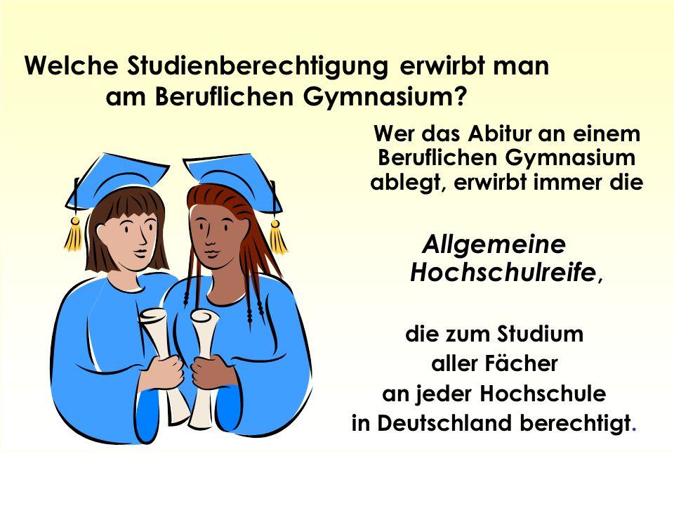 Welche Studienberechtigung erwirbt man am Beruflichen Gymnasium.