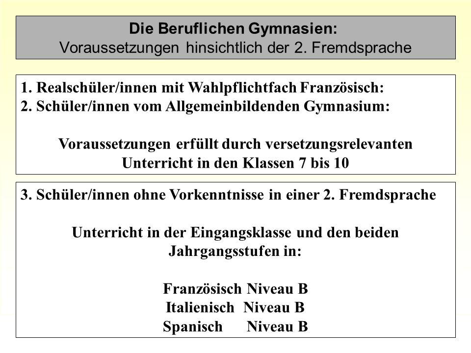 Die Beruflichen Gymnasien: Voraussetzungen hinsichtlich der 2. Fremdsprache 3. Schüler/innen ohne Vorkenntnisse in einer 2. Fremdsprache Unterricht in