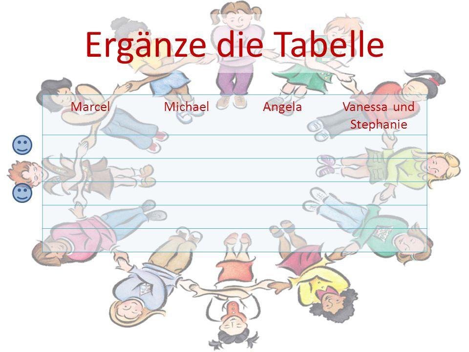Ergänze die Tabelle MarcelMichaelAngelaVanessa und Stephanie