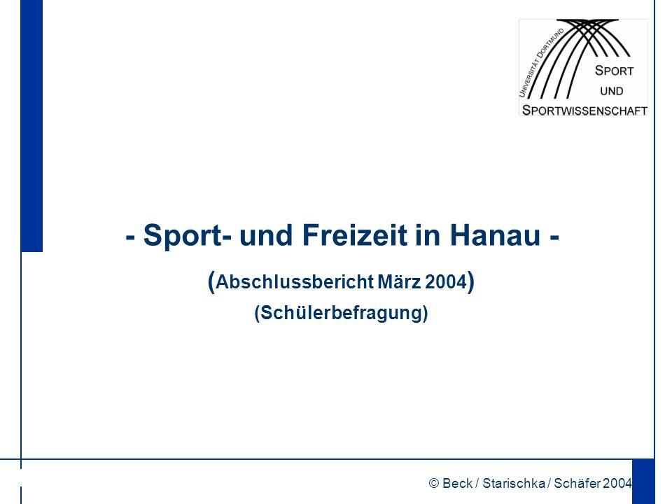 © Beck / Starischka / Schäfer 2004 1 - Sport- und Freizeit in Hanau - ( Abschlussbericht März 2004 ) (Schülerbefragung)