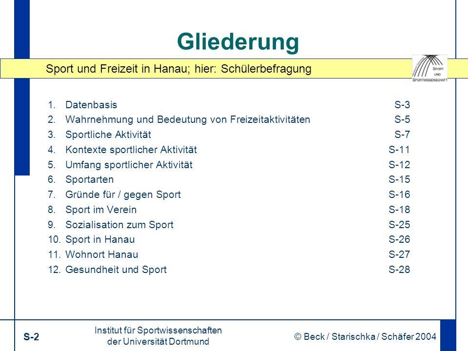 Sport und Freizeit in Hanau; hier: Schülerbefragung Institut für Sportwissenschaften der Universität Dortmund S-2 © Beck / Starischka / Schäfer 2004 2 Gliederung 1.