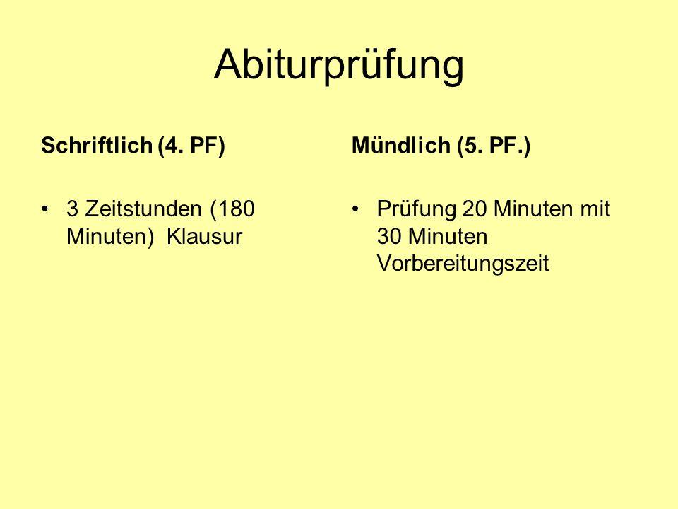 Abiturprüfung Schriftlich (4. PF) 3 Zeitstunden (180 Minuten) Klausur Mündlich (5. PF.) Prüfung 20 Minuten mit 30 Minuten Vorbereitungszeit