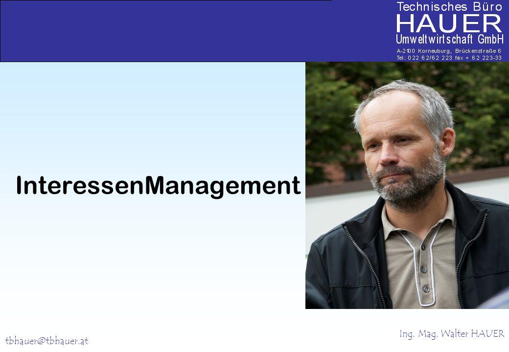 Walter HAUER + + + + + tbhauer@tbhauer.at InteressenManagement Ing. Mag. Walter HAUER