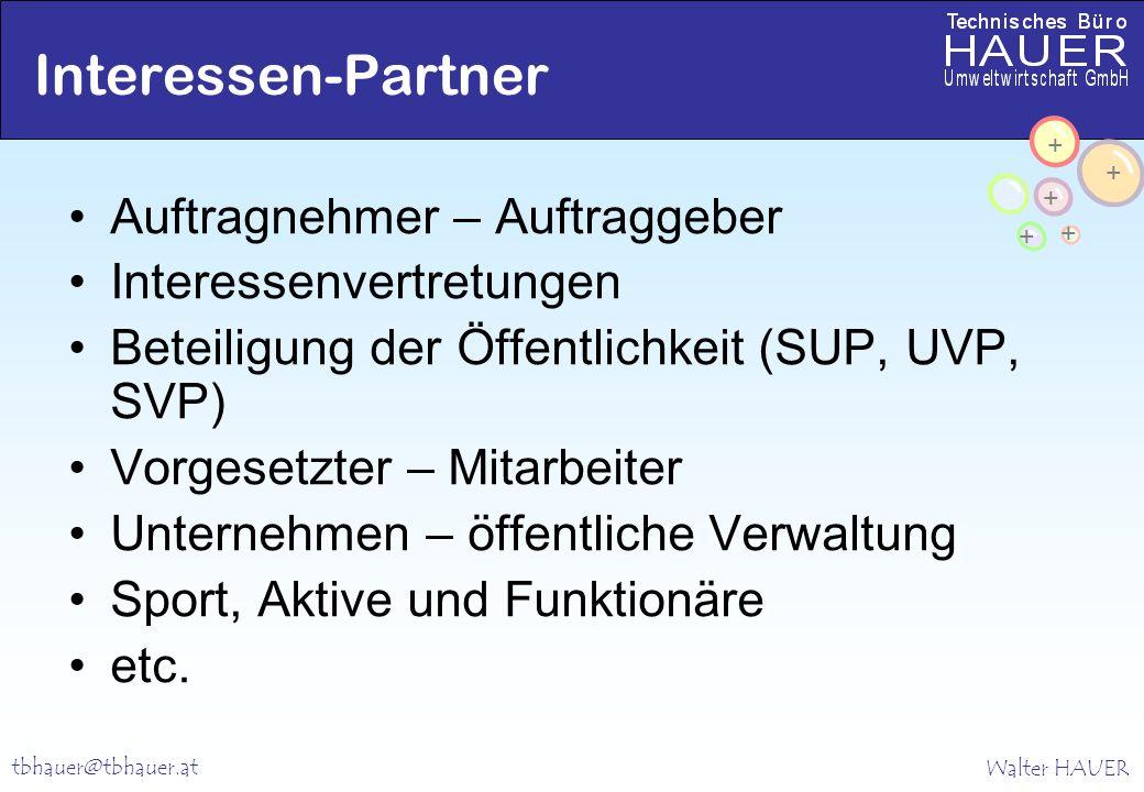 Walter HAUER + + + + + tbhauer@tbhauer.at Interessen-Partner Auftragnehmer – Auftraggeber Interessenvertretungen Beteiligung der Öffentlichkeit (SUP,