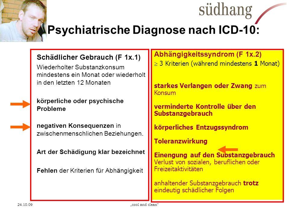 24.10.09cool and clean Psychiatrische Diagnose nach ICD-10: Schädlicher Gebrauch (F 1x.1) Wiederholter Substanzkonsum mindestens ein Monat oder wieder