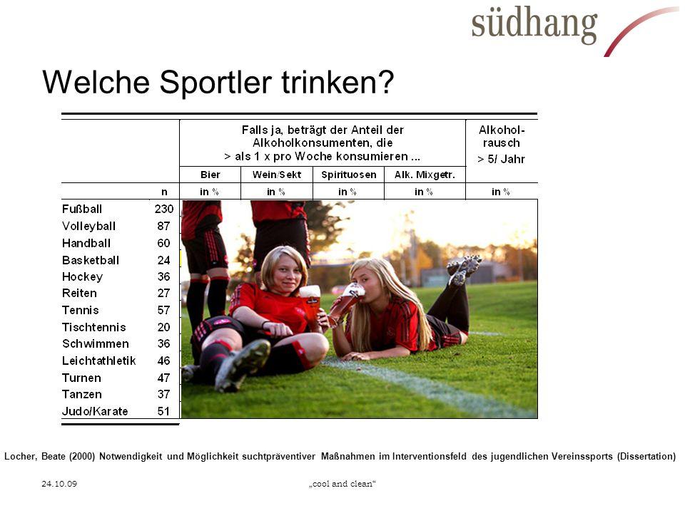24.10.09cool and clean Welche Sportler trinken? Locher, Beate (2000) Notwendigkeit und Möglichkeit suchtpräventiver Maßnahmen im Interventionsfeld des