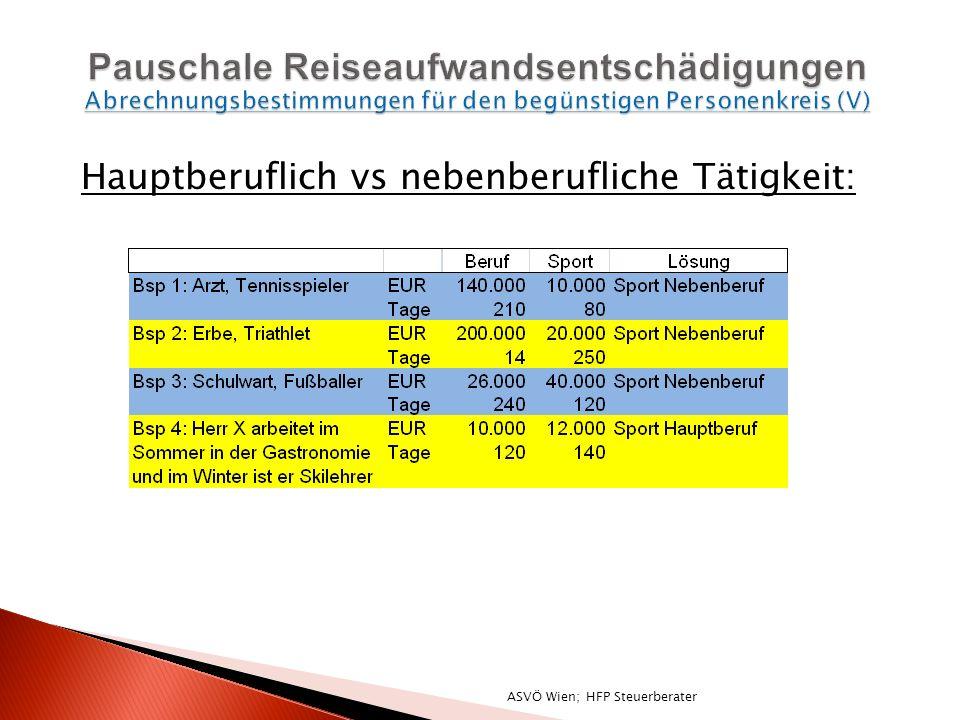 Hauptberuflich vs nebenberufliche Tätigkeit: ASVÖ Wien; HFP Steuerberater