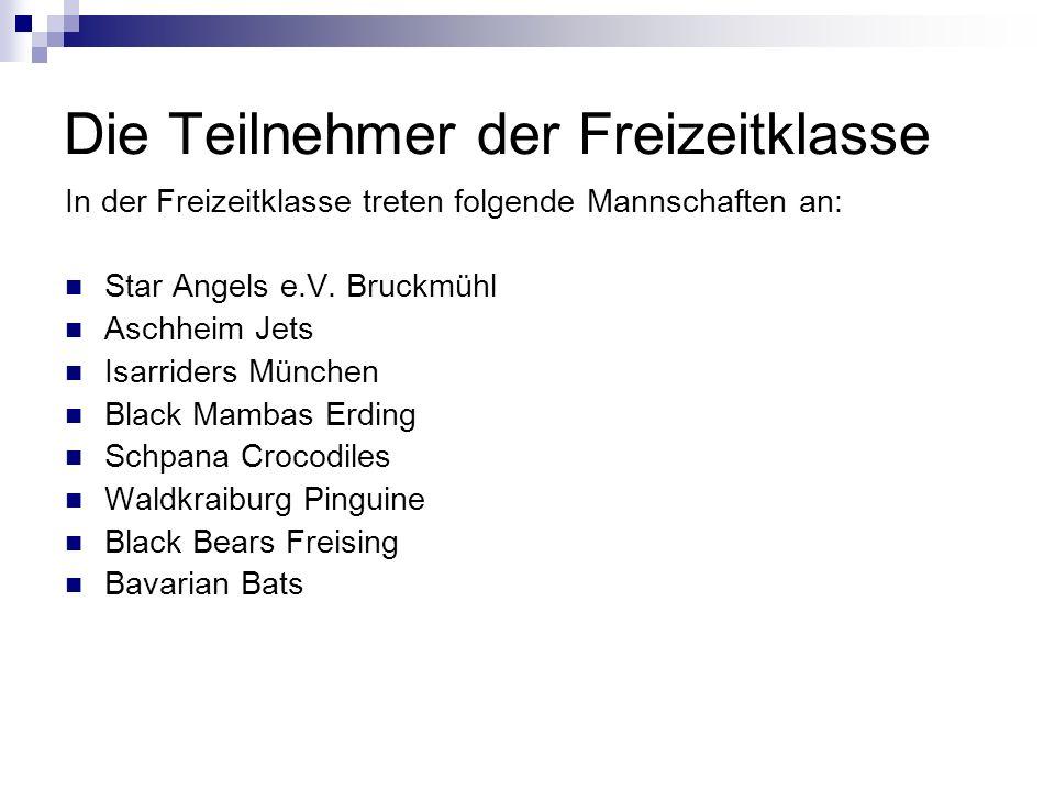 Die Teilnehmer der Freizeitklasse In der Freizeitklasse treten folgende Mannschaften an: Star Angels e.V.