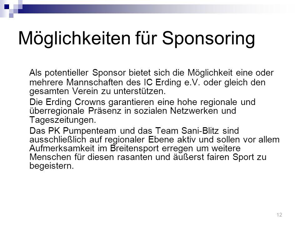 Möglichkeiten für Sponsoring Als potentieller Sponsor bietet sich die Möglichkeit eine oder mehrere Mannschaften des IC Erding e.V.