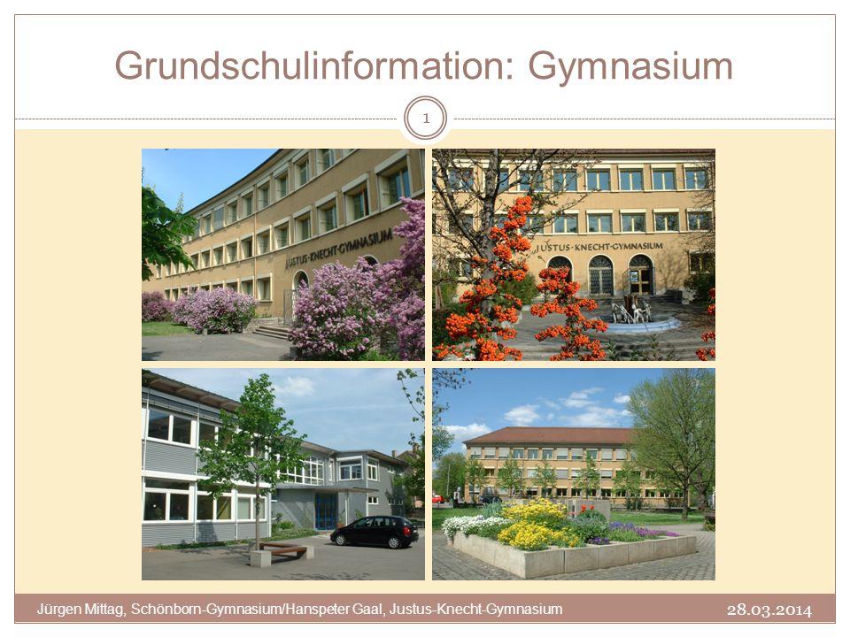 Grundschulinformation: Gymnasium 1 Jürgen Mittag, Schönborn-Gymnasium/Hanspeter Gaal, Justus-Knecht-Gymnasium 28.03.2014