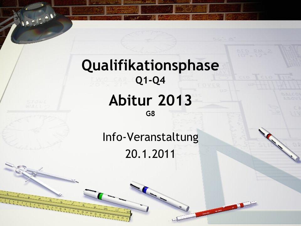 Qualifikationsphase Q1-Q4 Abitur 2013 G8 Info-Veranstaltung 20.1.2011