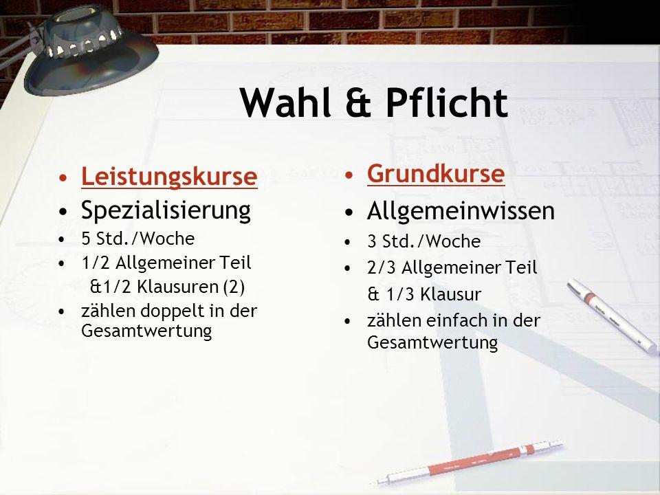 Wahl & Pflicht Leistungskurse Spezialisierung 5 Std./Woche 1/2 Allgemeiner Teil &1/2 Klausuren (2) zählen doppelt in der Gesamtwertung Grundkurse Allg