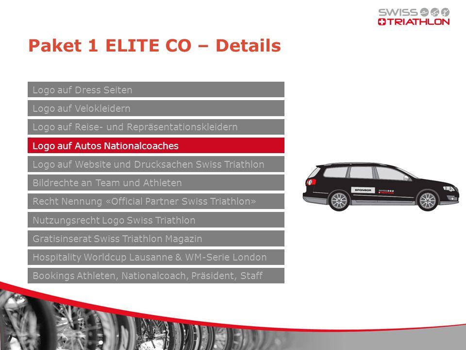 Paket 1 ELITE CO – Details Logo auf Velokleidern Logo auf Reise- und Repräsentationskleidern Logo auf Autos Nationalcoaches Logo auf Website und Druck