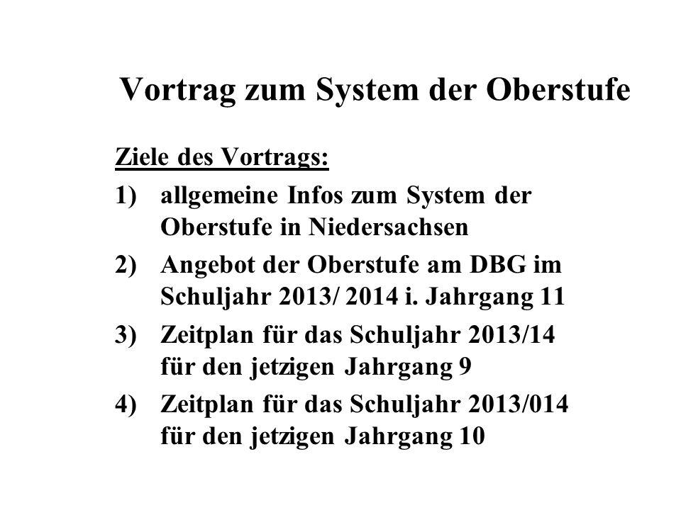 Vortrag zum System der Oberstufe Ziele des Vortrags: 1)allgemeine Infos zum System der Oberstufe in Niedersachsen 2)Angebot der Oberstufe am DBG im Schuljahr 2013/ 2014 i.