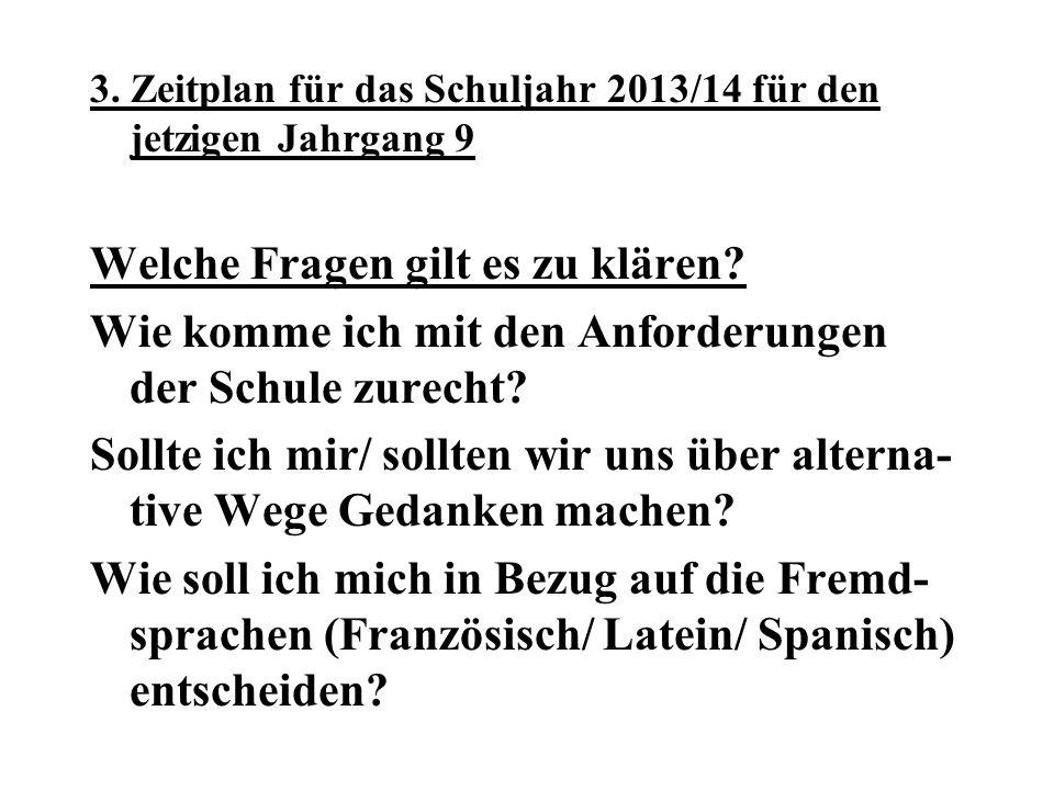 3.Zeitplan für das Schuljahr 2013/14 für den jetzigen Jahrgang 9 Welche Fragen gilt es zu klären.