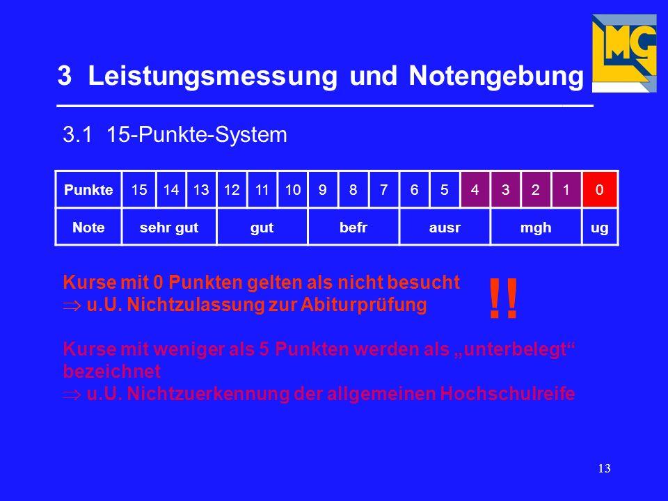 13 3 Leistungsmessung und Notengebung ___________________________________ 3.1 15-Punkte-System Punkte1514131211109876543210 Notesehr gutgutbefrausrmghug Kurse mit 0 Punkten gelten als nicht besucht u.U.
