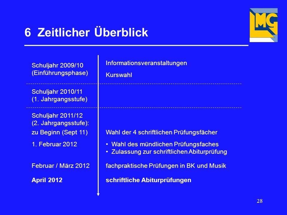 28 6 Zeitlicher Überblick __________________________________ Schuljahr 2009/10 (Einführungsphase) Informationsveranstaltungen Kurswahl Schuljahr 2010/11 (1.