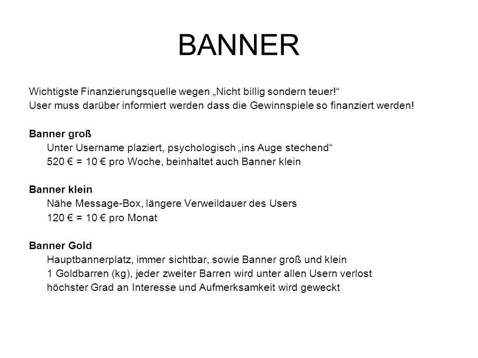 BANNER Wichtigste Finanzierungsquelle wegen Nicht billig sondern teuer! User muss darüber informiert werden dass die Gewinnspiele so finanziert werden