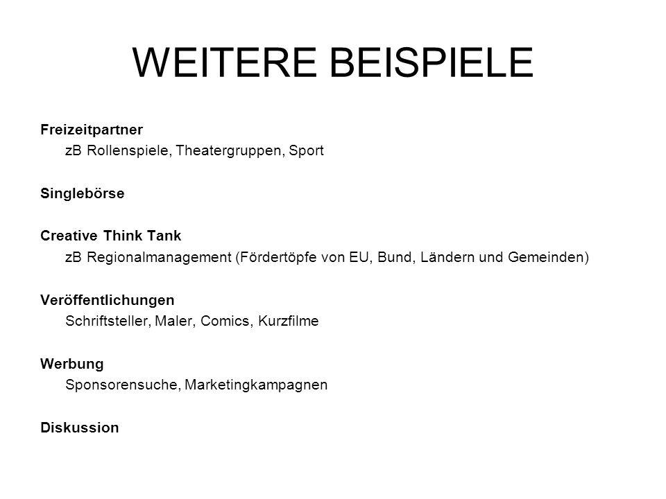 WEITERE BEISPIELE Freizeitpartner zB Rollenspiele, Theatergruppen, Sport Singlebörse Creative Think Tank zB Regionalmanagement (Fördertöpfe von EU, Bu