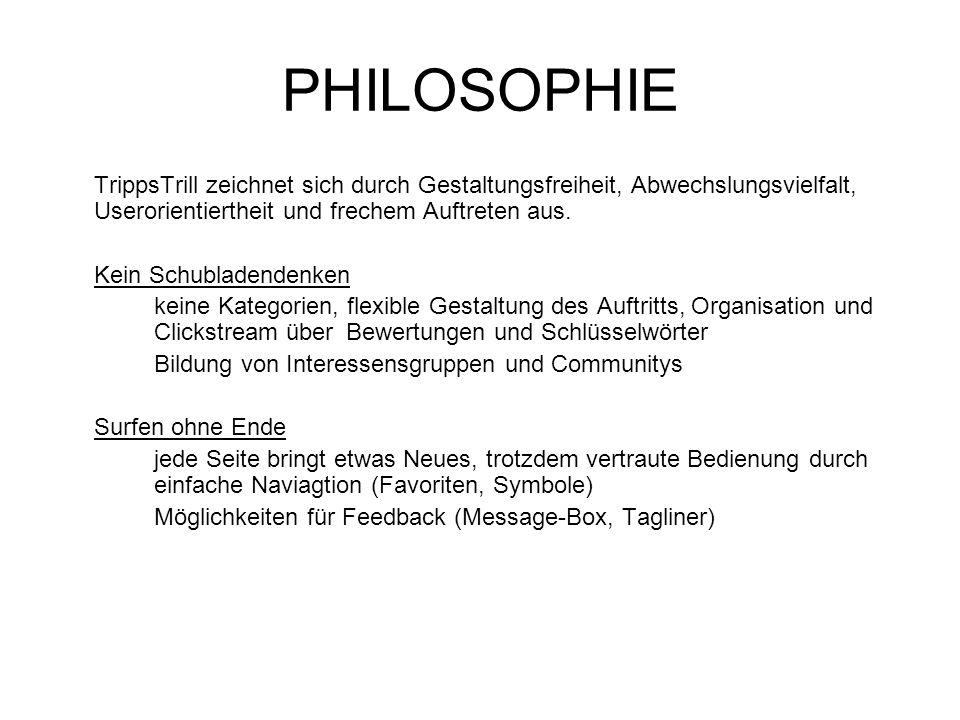 PHILOSOPHIE TrippsTrill zeichnet sich durch Gestaltungsfreiheit, Abwechslungsvielfalt, Userorientiertheit und frechem Auftreten aus. Kein Schubladende