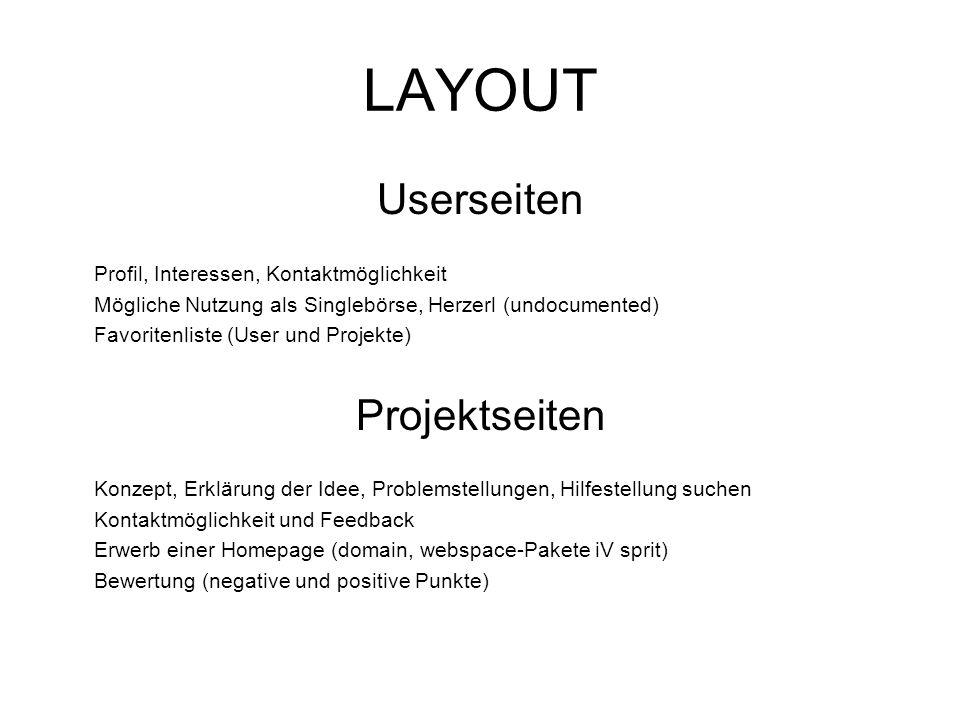 LAYOUT Userseiten Profil, Interessen, Kontaktmöglichkeit Mögliche Nutzung als Singlebörse, Herzerl (undocumented) Favoritenliste (User und Projekte) P
