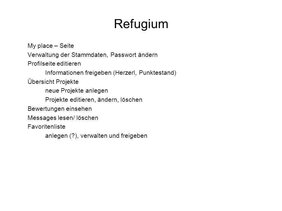 Refugium My place – Seite Verwaltung der Stammdaten, Passwort ändern Profilseite editieren Informationen freigeben (Herzerl, Punktestand) Übersicht Pr