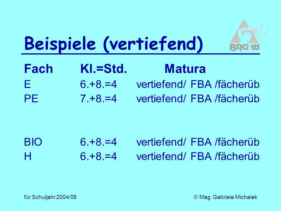 für Schuljahr 2004/05© Mag. Gabriele Michalek Beispiele (vertiefend) FachKl.=Std.Matura E6.+8.=4vertiefend/ FBA /fächerüb PE7.+8.=4vertiefend/ FBA /fä