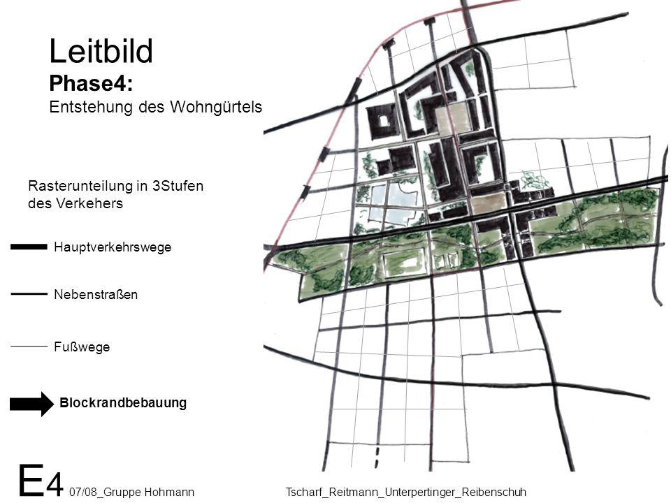 E 4 07/08_Gruppe Hohmann Tscharf_Reitmann_Unterpertinger_Reibenschuh Leitbild Phase4: Entstehung des Wohngürtels Rasterunteilung in 3Stufen des Verkeh