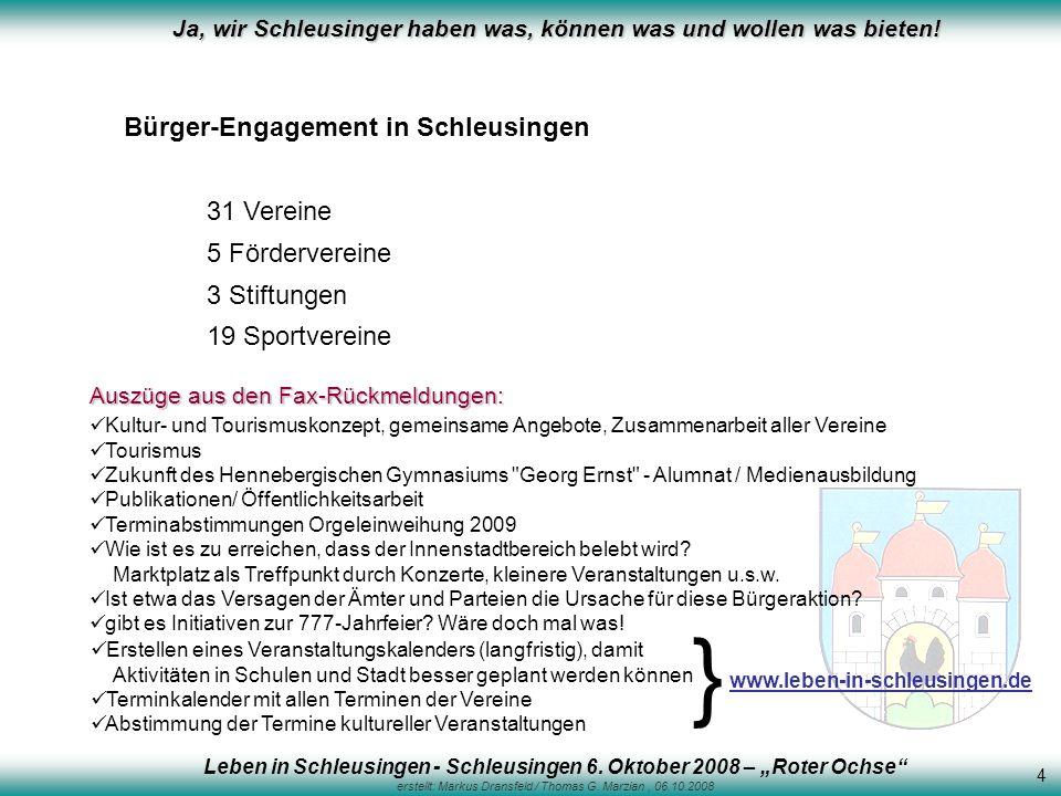 Ja, wir Schleusinger haben was, können was und wollen was bieten! Bürger-Engagement in Schleusingen 31 Vereine 5 Fördervereine 3 Stiftungen 19 Sportve