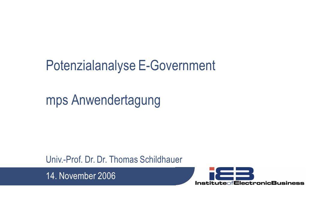 Univ.-Prof. Dr. Dr. Thomas Schildhauer Potenzialanalyse E-Government mps Anwendertagung 14. November 2006