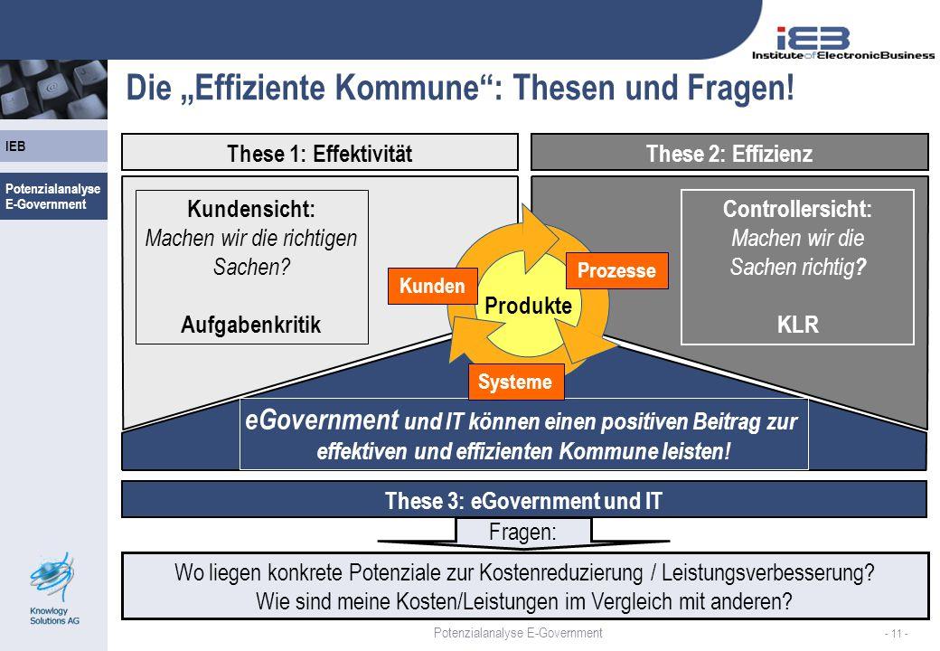 IEB - 11 - Die Effiziente Kommune: Thesen und Fragen! These 1: EffektivitätThese 2: Effizienz These 3: eGovernment und IT Kundensicht: Machen wir die