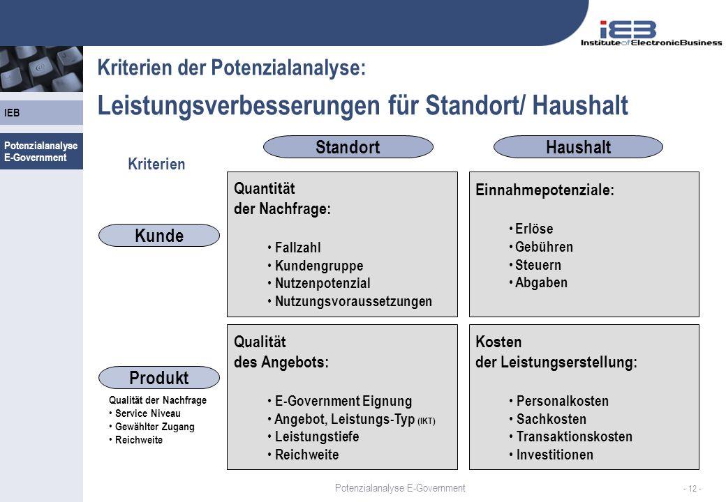 IEB - 12 - Kriterien der Potenzialanalyse: Leistungsverbesserungen für Standort/ Haushalt StandortHaushalt Kunde Produkt Quantität der Nachfrage: Fall