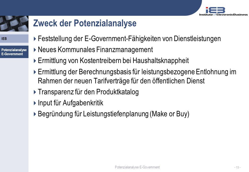 IEB - 13 - Zweck der Potenzialanalyse Feststellung der E-Government-Fähigkeiten von Dienstleistungen Neues Kommunales Finanzmanagement Ermittlung von Kostentreibern bei Haushaltsknappheit Ermittlung der Berechnungsbasis für leistungsbezogene Entlohnung im Rahmen der neuen Tarifverträge für den öffentlichen Dienst Transparenz für den Produktkatalog Input für Aufgabenkritik Begründung für Leistungstiefenplanung (Make or Buy) Potenzialanalyse E-Government