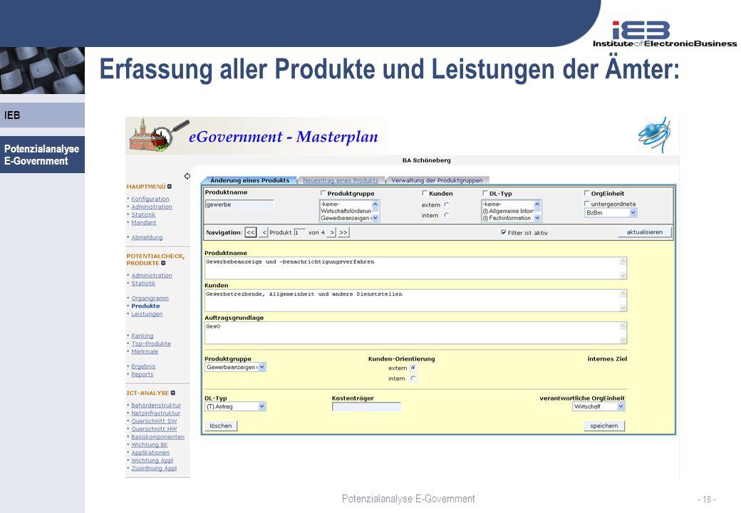 Potenzialanalyse E-Government IEB - 18 - Erfassung aller Produkte und Leistungen der Ämter: Potenzialanalyse E-Government